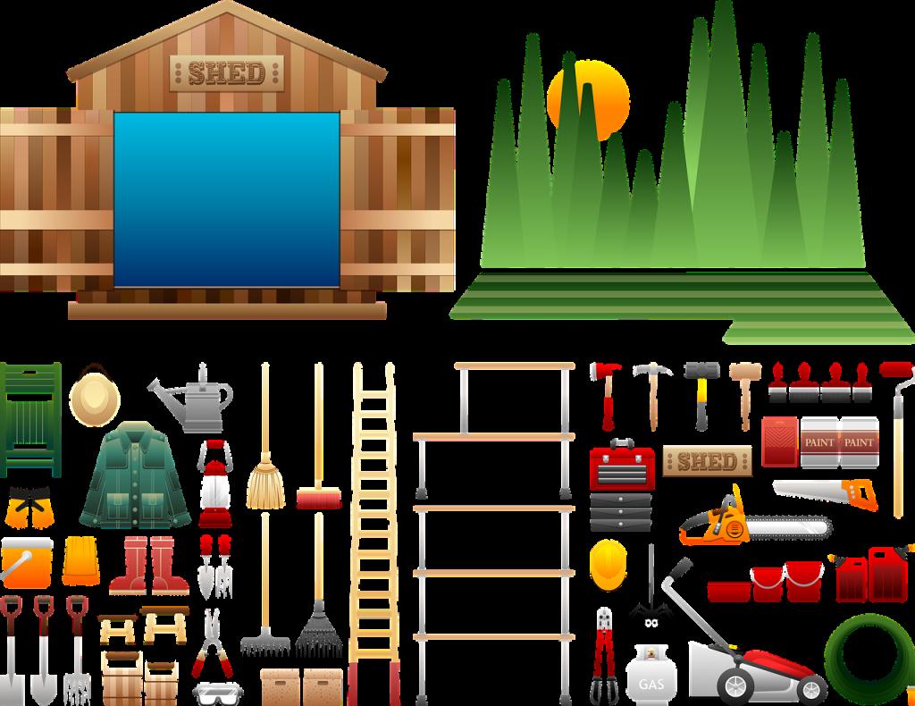 מחסן בגינה עם כלים שונים
